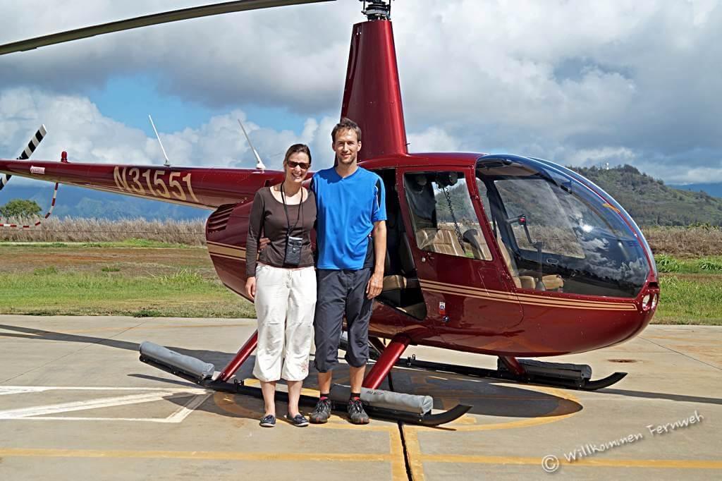 Der Helikopter für den Rundflug über Kauai