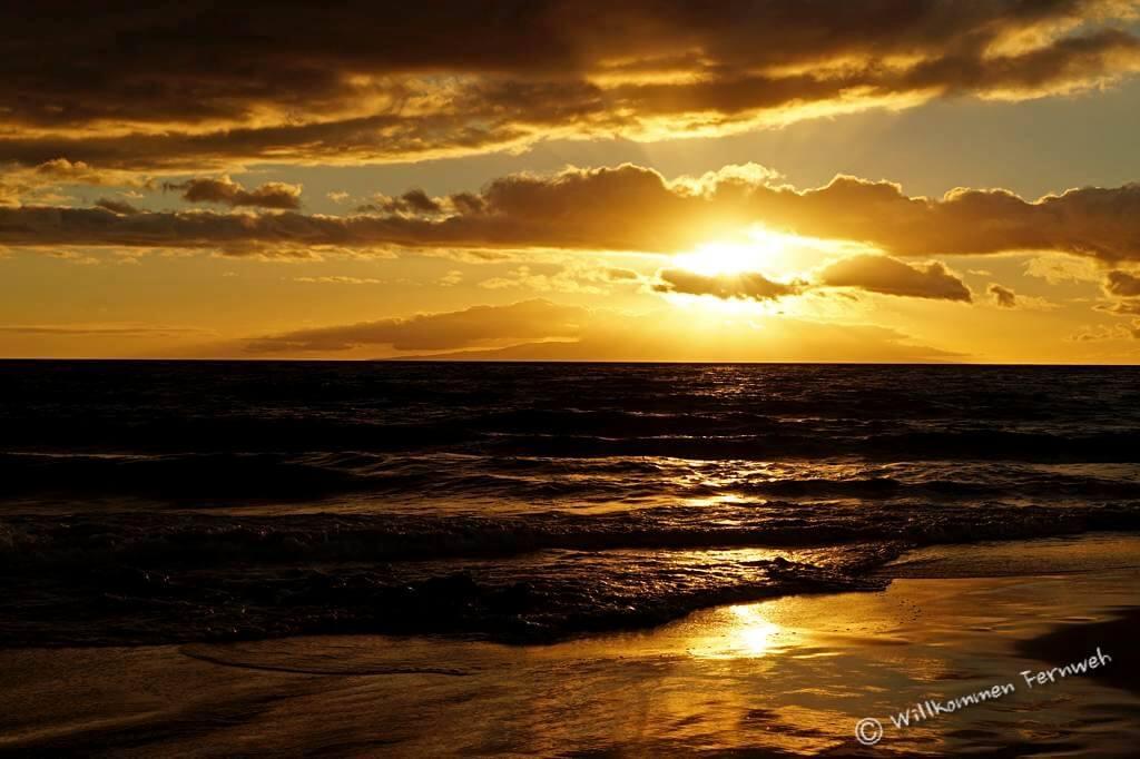 Sonnenuntergang am Keawakapu Beach, Maui