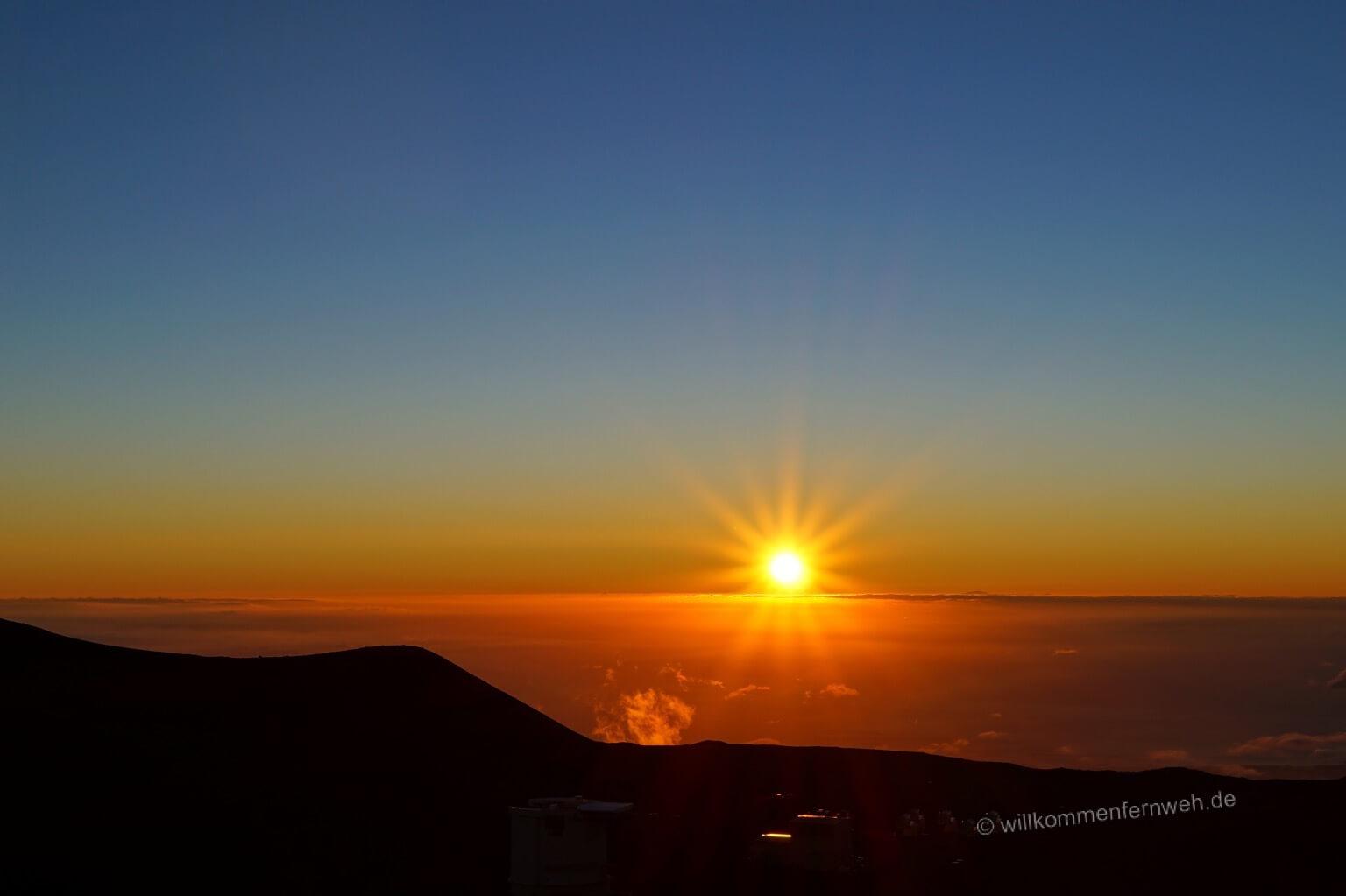 Sonnenuntergang am Mauna Kea, Hawaii Big Island