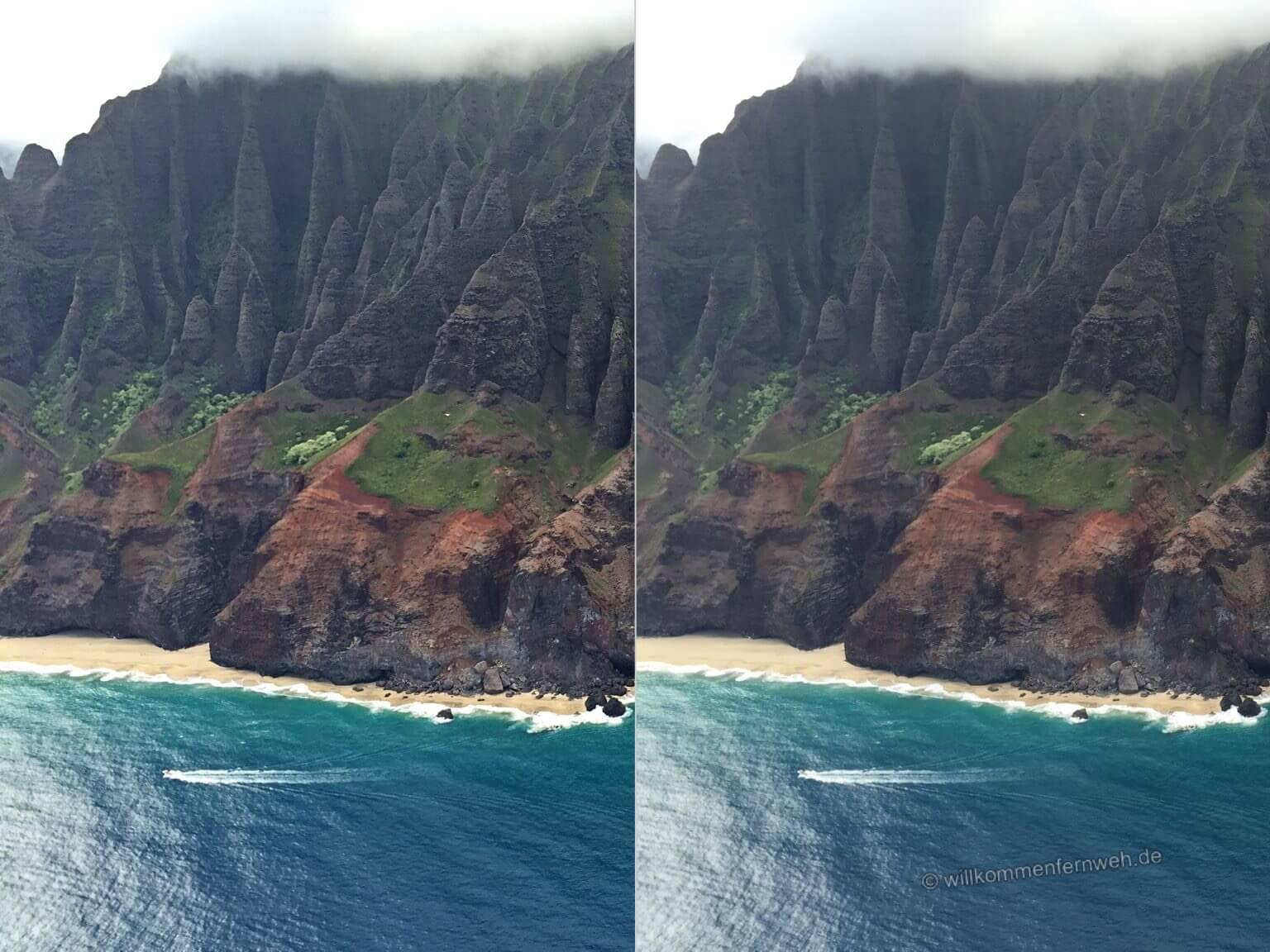 Die Na Pali Coast von Kauai, links bearbeitet