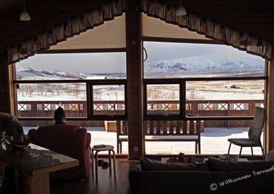 Unsere Aussicht vom Ferienhaus am Golden Circle