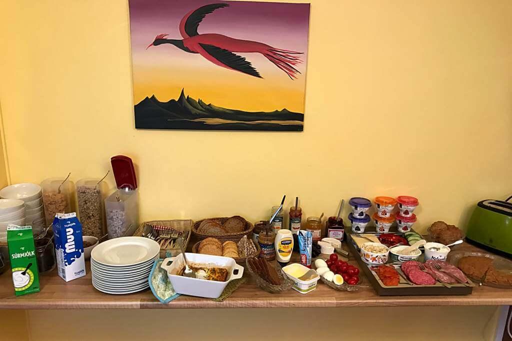 Frühstücksbuffet im sehr empfehlenswerten Öndólfsstaðir Farm B&B