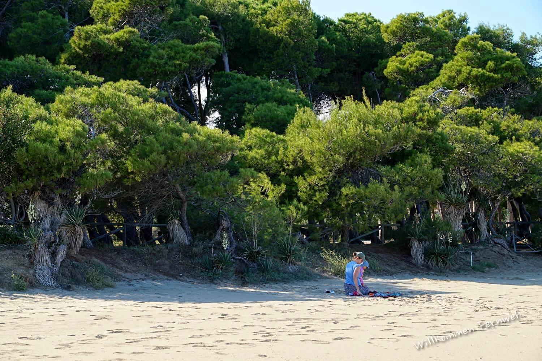 Kerstin und Lundi vor wunderbaren Pinien direkt am Strand von Pineto (Abruzzen)