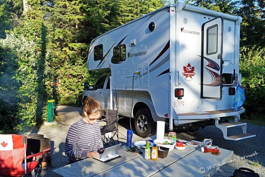 Stromanschluss am Campground – für uns die Ausnahme