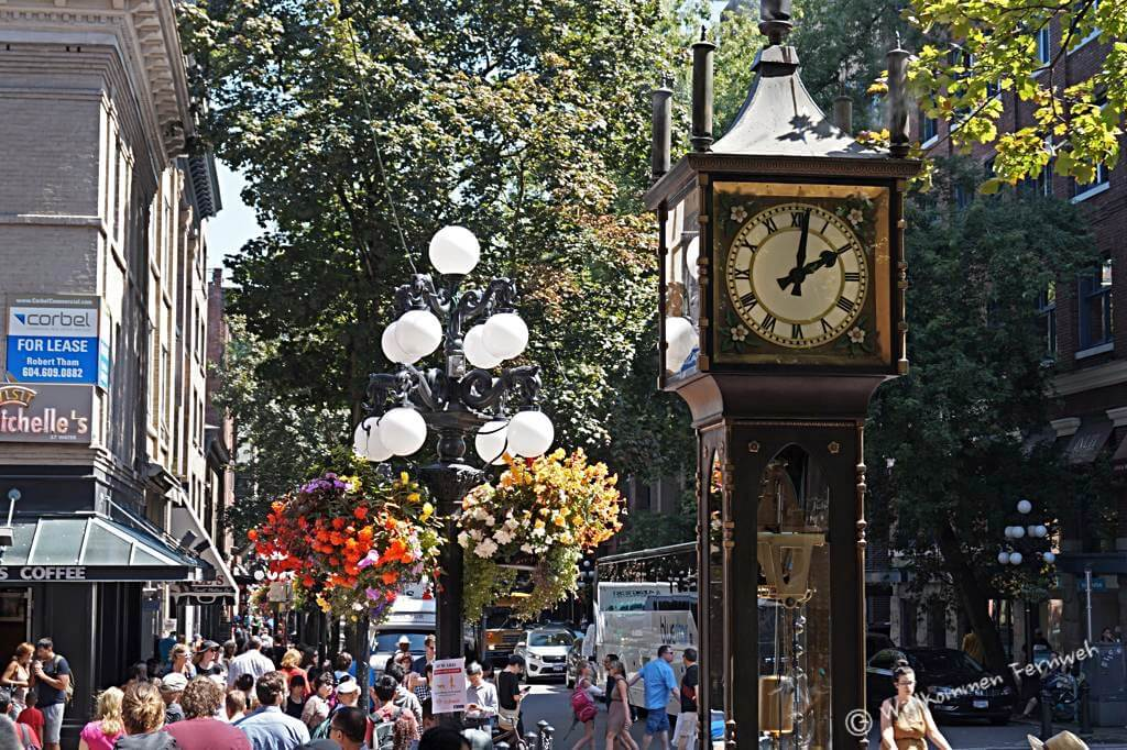 Die Steam Clock im Viertel Gastown, Vancouver