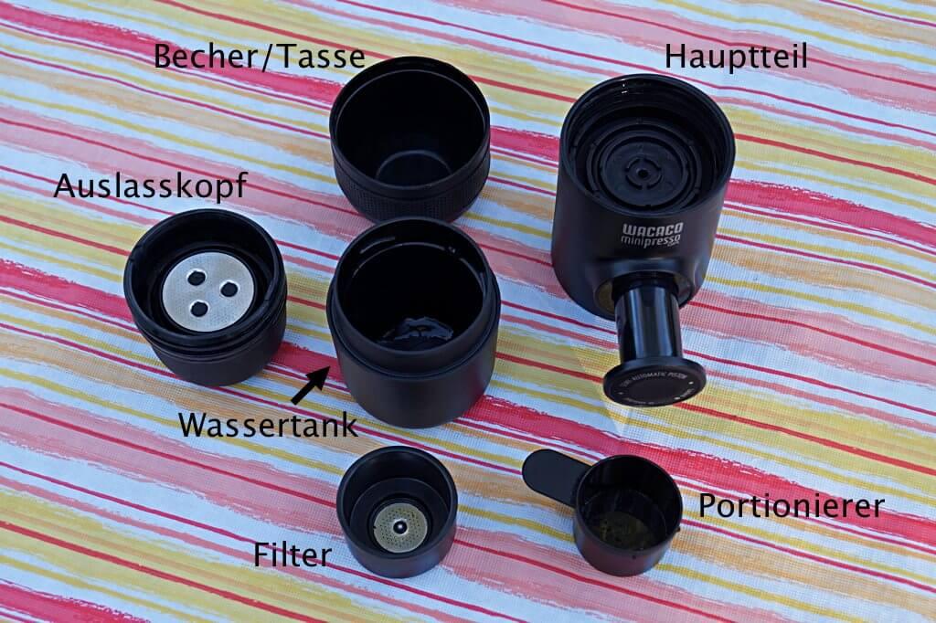 Die einzelnen Teile der Minipresso