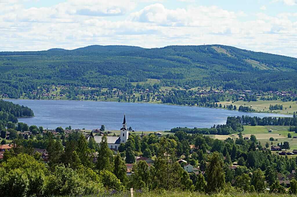 Aussicht vom Naturum Dalarna am Siljan-See