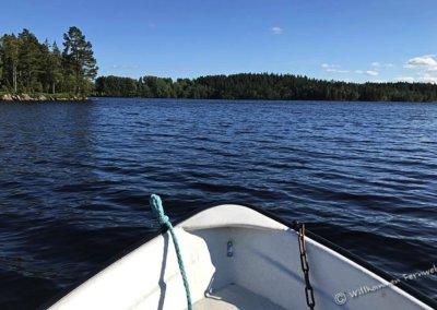 Unser Boot auf dem Stengårdshultasjön in Småland