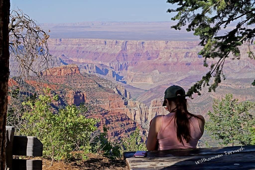 Stillpause am Vista Encantada, Grand Canyon North Rim