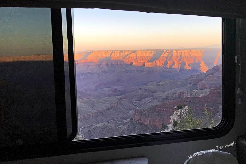 Unser Blick aus dem Wohnmobil am Walhalla Overlook, Grand Canyon North Rim