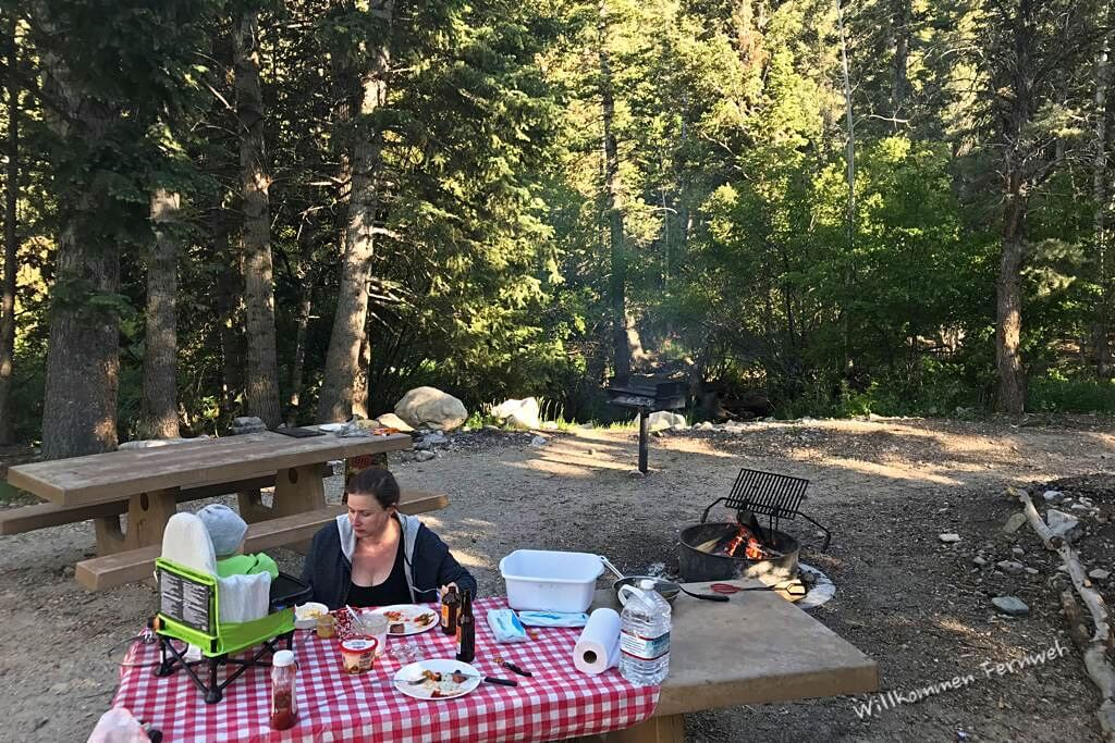 Grillen und Picknick am Upper Lehman Campground, Great Basin National Park