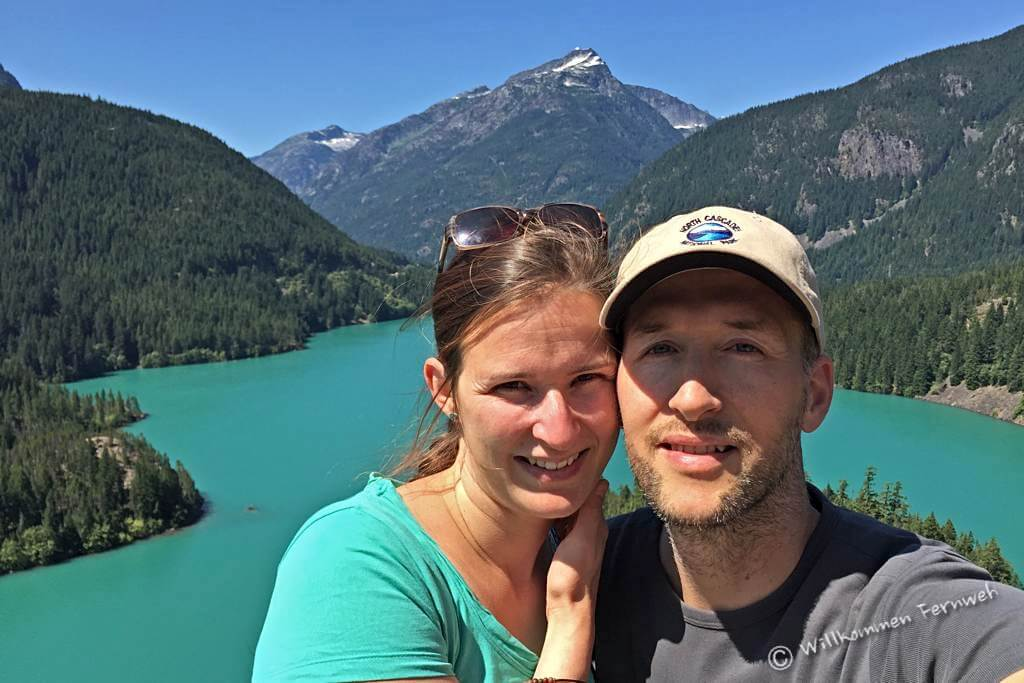 Wir am Diablo Lake, North Cascades National Park, USA