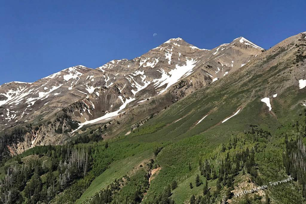 Kaum befahrene, schöne Nebenstrecke mit Blick auf den Mount Nebo