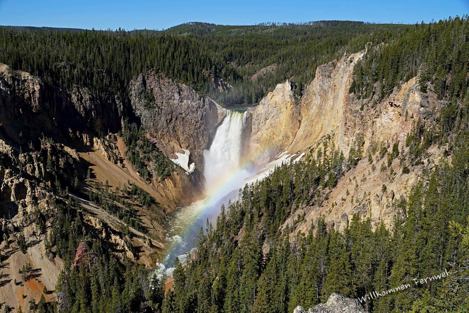 Die Lower Falls mit Regenbogen, Lookout Point, Grand Canyon of the Yellowstone