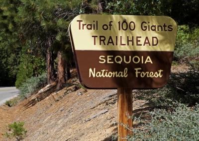 Schild, Trail of 100 Giants, USA
