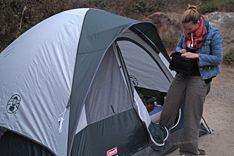 Unser Zelt von Walmart inkl. Airbed
