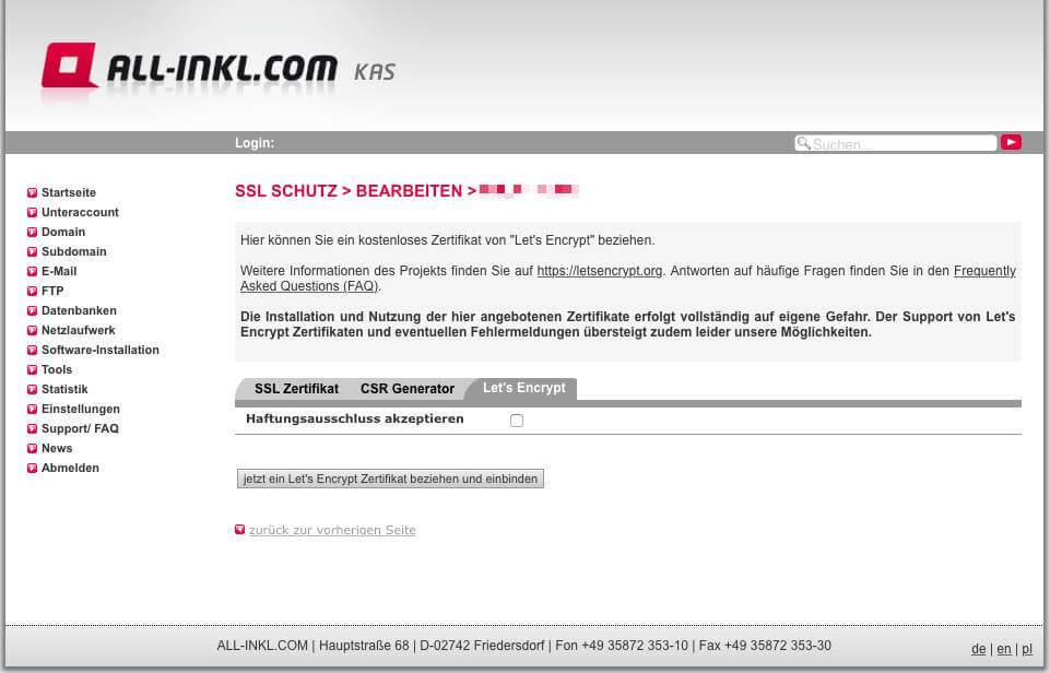 Aktivieren des Let's Encrypt Zertifikats bei All-Inkl