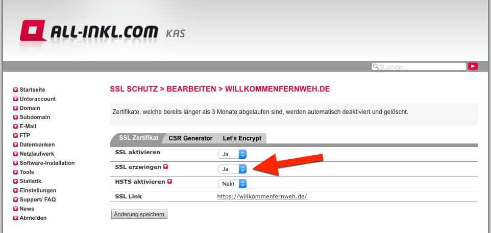 """Permanente Weiterleitung (Redirect 301) durch """"SSL erzwingen"""" bei All-Inkl"""